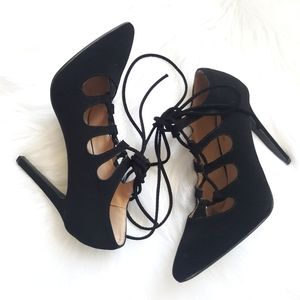 Black Pointy Toe Lace Up Heels